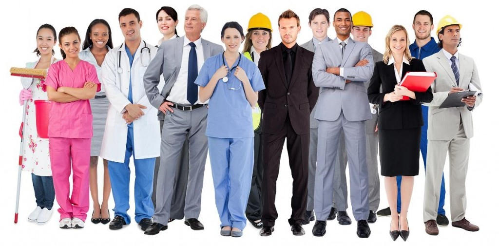 Smiling group of people with different jobs on white background